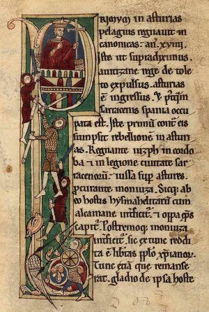 Bladzijde 23 van het manuscript 2805 van de Nationaal Bibliotheek van Spanje. Dit is een van de de exemplaren van het Corpus Pelagianum van de bisschop Pelayo van Oviedo, een kopie van van een ouder boek (inclusief de tekening), gemaakt in het scriptorium van het klooster van deze bisschop. De ongewone kroon herinnerd aan modellen van het eind van de 11ᵉ eeuw. het type dat de vorst draagt is hetzelfde als in de maantabellen van vah eht Manuscript 17 dat bewaard wordt in het St. John College van Oxford (ca. 1080 - 1100) zoals dat van het Liber testametorum.