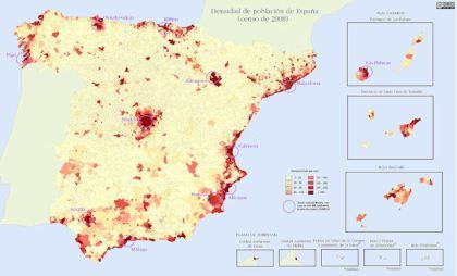 Bevolkingsdichtheid van Spanje (2008)