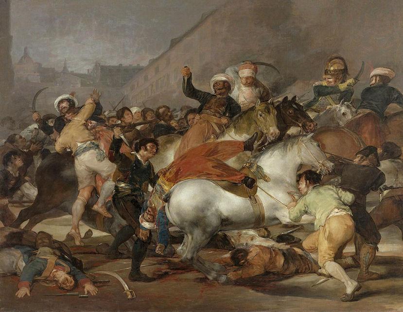 2 Mei 1808 in Madrid. De Madrilenen komen in opstand tegen het Franse invasieleger, wat de Onafhankelijksoorlog van Spanje veroorzaakte.