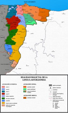 Kaart van asturleonesa dialecten.