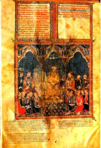 """Bladzijde uit het Estoria de España van Alfonso X de Castilla """"el Sabio""""."""