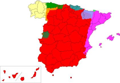 Rood: Castellano of Spaans, in heel Spanje gesproken. Violet: Catalán of Valenciaans. Turquoise: Euskera of Vascuence. Geel: Gallego Groen: Asturleonés Purple; Aragonés. Gifgroen: Aranés Donker groen: Extremeño. Oker Fala.