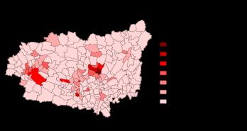 Kaart van de bevolkingsdichtheid.