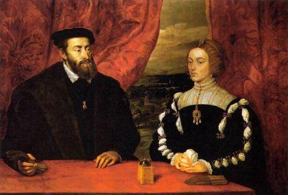 Portret van Carlos I en Isabel van Portugal. Het is een kopie van Rubens want het origineel, van Tiziano is verloren gegaan.