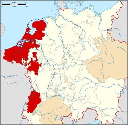 De Nederlanden in 1555 onder het beheer van Filips II