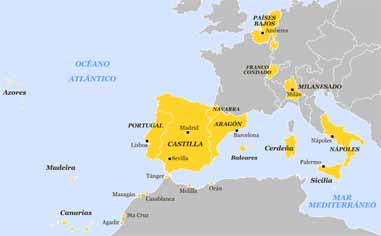 Europese en Noord-Africaanse bezittingen van Filips II