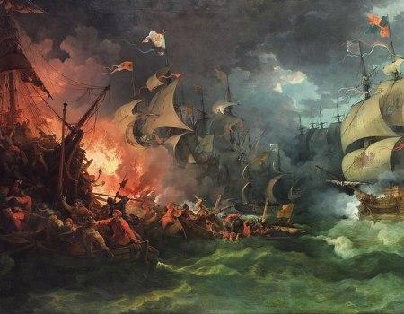 Slag bij Grevelingen 1588 een geromantiserende voorstelling door Philippe-Jacques de Loutherbourg, leuk maar weinig realisties