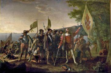 Columbus zet voet op (een van de Caraibische eilanden waarvan hij dacht dat het West Indië was) Amerika