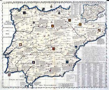 Historische kaart van Spanje en Potugal.