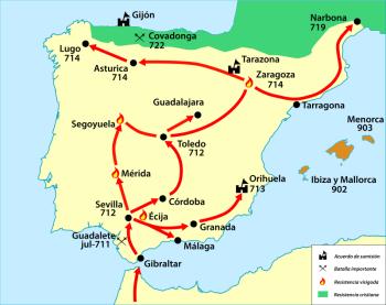 In 711 kwamen de islamitische legers door de Straat van Gibraltar en veroverde in een paar jaar bijna het gehele schiereiland.