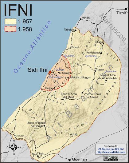 Kaart van Ifni in 1957, na het conflict van 1958.