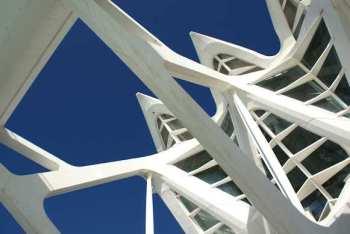 Detail van bouwwerken van Santiago Calatrava, Valencia