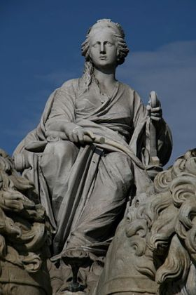 Detail van de fontein van Cibeles, Madrid