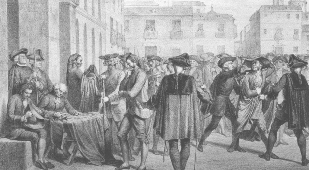 Het verzet kant zich tegen het dragen van lange jassen en hoeden met brede randen wat uiteindelijk uitmond in de opstand van Esquilache (1766).