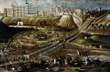 Zicht op het Alcázar Real en el Puente de Segovia. Anoniem schilderij van rond 1640.
