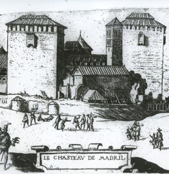 Tekening van J. Cornelius Vermeyen van het oude Alcázar rond 1534.