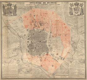 Kaart die de uitbreiding (el Ensanche in rood) laat zien. De oude stad in grijs.