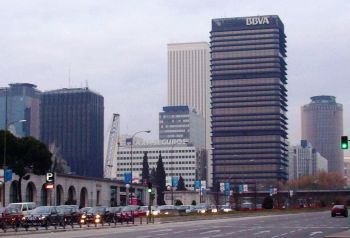 De financiele wijk AZCA, in het centrum van Madrid