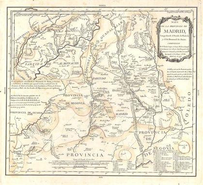 Kaart van Madrid, gemaakt door Tomás López de Vargas in 1773. Het kan worden gezien als de ontmanteling van de regio Madrid. Het wordt beperkt door Segovia, Guadalajara en Toledo, zonder territoriale continuïteit vervald Madrid