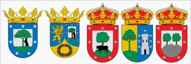 Het wapen van de stad Madrid, het oude wapen van de stad Madrid, het gemeentewapen van Fresno de Torote (Com. Madrid), het wapen van Valdemorillo (Com. Madrid) en het wapen van de gemeente Tres Cantos (Com. Madrid)