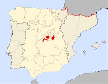 De provincie Madrid in 1590 volgens de stemming in het Cortes de Castilla
