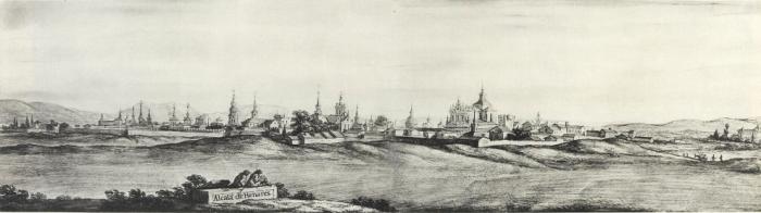 Tekening van Pier Maria Baldi (1668) van de skyline van Alcalá de Henares