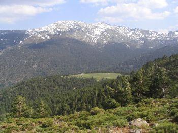 Het noordelijke gezicht van de Cabezas de Heirro, die een groot deel van het Nationaal Park van Guadarrama bedekt.