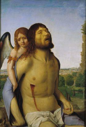 Dode Christus gesteund door een Engel, van Antonello da Messina.