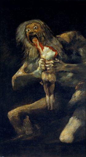 Saturno devorrando a un hijo (Saturnus die een jongen verslind) één van de 'zwarte schilderijen'van Goya.