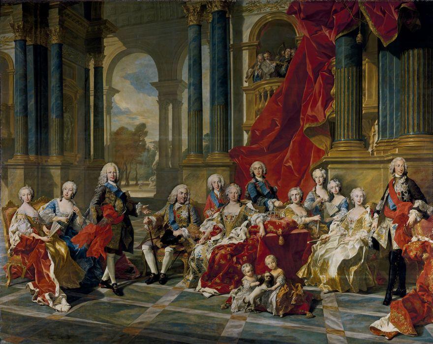 De Familie van Felipe V, door Louis Michel van Loo
