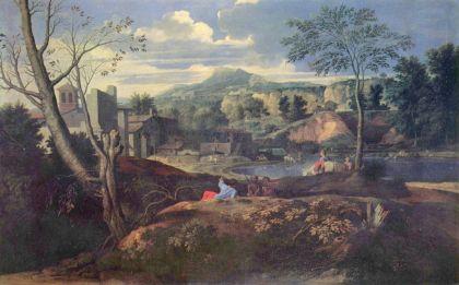 Landschap met drie mannen, naar 1645-1650, van Nicolas Poussin.