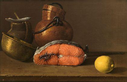 Een stilleven van Luis Egidio Meléndez . Een moot zalm, een citroen en drie potten (1772)