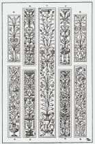 Candelieri : The Pilaster Panel. 1. Italian Renascence 2-5. Italian Renascence, Sta. Maria dei Miracoli, Venice. 6-7. Italian Renascence, by Benedetto da Majano. 8-9. Modern Panels, in the style of the Italian Renascence.