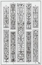Candelieri : The Pilaster Panel. 1. Italian Renascence 2-5. Italian Renascence, Sta. Maria dei Miracoli, Venice. 6-7. Italian Renascence, by Benedetto da Majano. 8-9. Modern Panels, in the style of the Italian Renascence.