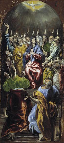 Pinksteren (Pentecostés) van El Greco, een deel van het altaarstuk van het Augustijnerklooster Maria de Aeragón. Het kwam van het Museo de la Trinidad naar het Prado