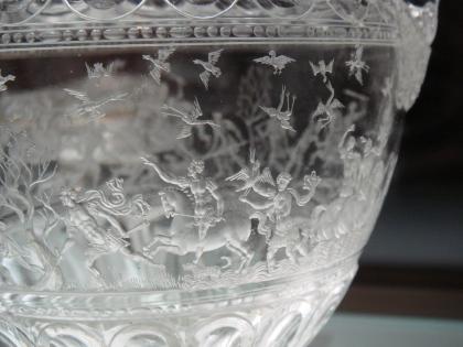 Glas van de jacht, Francesco Tortorino (detail), gegraveerd en gesneden uit bergkristal, één van de stukken van de Schat van de Dolphin.