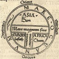 T-O kaart uit de Etymologiae van Isidorus 1472. De T staat in de O en deelt de O in drieën. De T stelt het water voor, en deelt de toen bekende aarde in drie delen, namelijk Europa, Azië en Afrika.