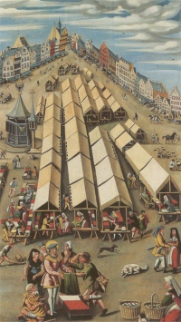 Anoniem. De lakenmarkt te 's-Hertogenbosch, het huis Inden Salvatoer, waar Bosch woonde, is het zevende huis van rechts. Ca. 1530. 's-Hertogenbosch, Noordbrabants Museum.