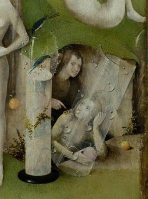 Figuren in de grot, afgeschermd door een transparant schild