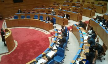 Het interieur van het Galicisch parlement.