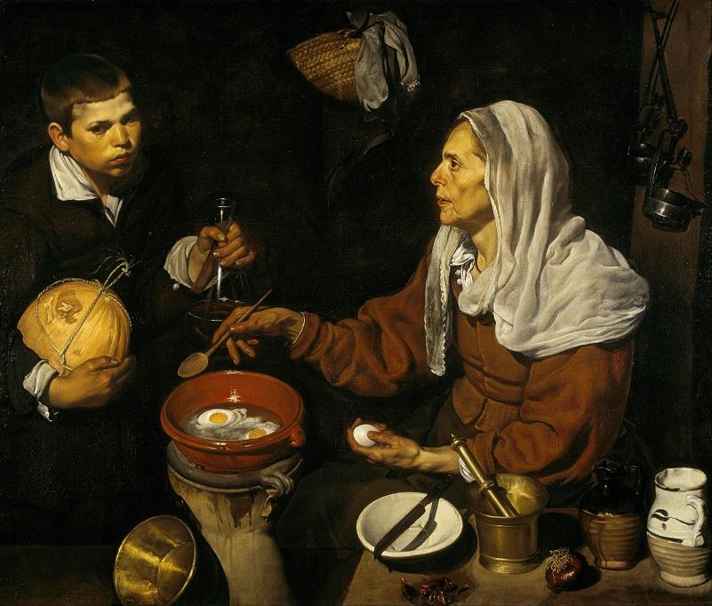 Een mooi voorbeeld van het gebruik van de cazuela (aarden pot) in het Sevilla van de 17ᵉ eeuw. Een oude vrouw die eieren bakt. Een schilderij van Diego Velázquez, 1618.