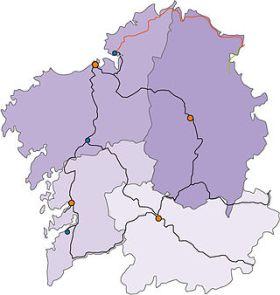 De bestaande spoorlijnen in Galicia.
