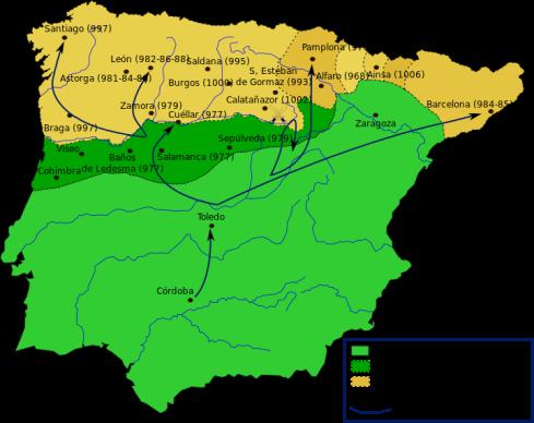 Almanzor's militaire campagnes. Het donkergroene deel is een gebied dat altijd lastig gevallen werd door de Arabische legers. De kaart toont de belangrijkste overwinningen van Almanzor en de datums waarop ze werden uitgevoerd.