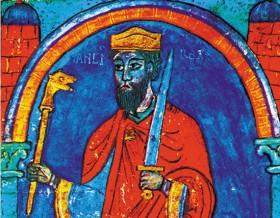 Miniatuur uit de 12ᵉ eeuw dat een beeld van Sancho I moet geven.