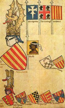 Het koninklijk embleem werd tijdens de middeleeuwen gebruikt als persoonlijk of dynamisch symbool. Lijkend op deze van de Armorial de Gelre (1370 - 1395) afgebeeld met helm, schild, kroon met draakvormige top, verwijzend naar Pedro IV van Aragón, samen met andere emblemen i.v.m. verschillende leenheren.