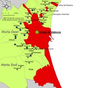 Gemeente van Valencia, in de regio van de Huerta de Valencia.