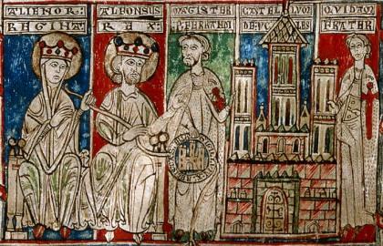 Alfonso III de Castilla en Leonor Plantagenet kennen aan de abt Pedro Fernández de Castro van het klooster van Uclés, de Orde van Santiago toe.