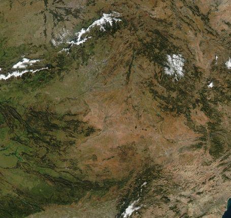 Satelietfoto van Castilla-La Mancha.