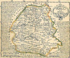 Kaart van Nieuw Castilla 1785, waarbinnen alle provincies terug te vinden zijn.