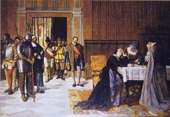 Maria Pacheco ontvangt het nieuws dat haar man tijdens de opstand van de comuneros is omgekomen.